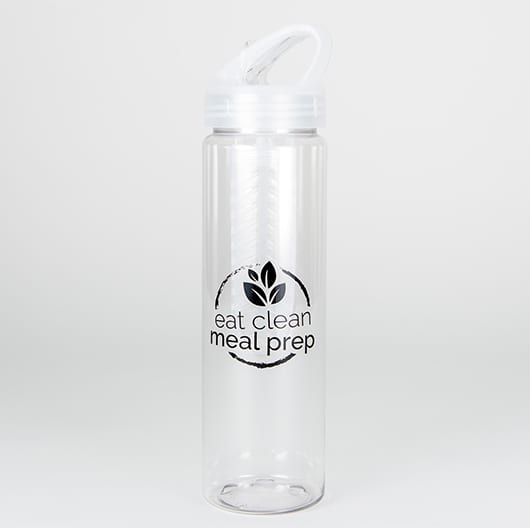 Infuser Clear Sports Water Bottle with Eat Clean Meal Prep Logo