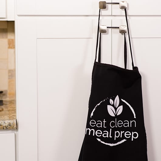 Black Apron with Eat Clean Meal Prep Logo